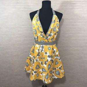 Pin up Gray Yellow Floral Print Kitchen Apron